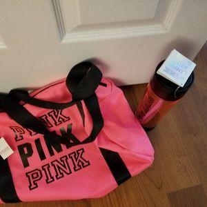 Brand New Pink Vs duffle bag & water bottle